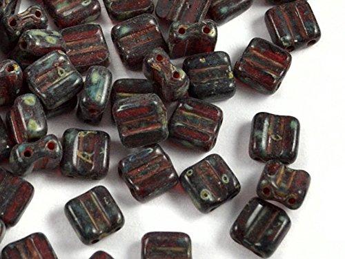 24pcs Silky Cut Block Beads - Tchèque Perles en verre pressées avec deux trous, Carrés sculptés 6x6mm, Ruby Travertine
