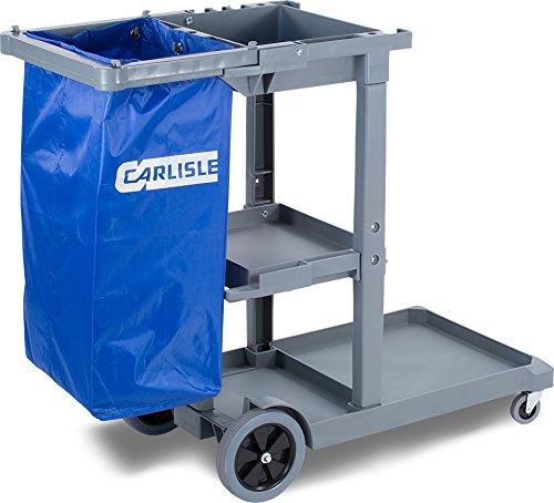 Carlisle JC1945S23 Polyethylene Short Platform Janitorial Cart, 300 lbs Capacity, 45' Length x 19' Width 39' Height, Gray