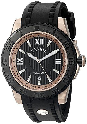 Gevril Seacloud Reloj Suizo automático con Correa de Goma Negra (Modelo: 3115)