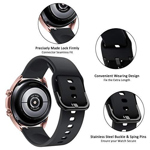Aimtel Armband Kompatibel mit Samsung Galaxy Watch 3 41mm Armband/Galaxy Watch Active2 Armbänder,20mm Weich Wasserdicht Silikon Ersatzarmband für Galaxy Watch3 41mm/Active2(Schwarz)