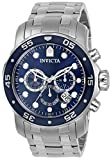 Invicta Men's Pro Diver Scuba 48mm Stainless Steel Chronograph Quartz Watch, Silver/Blue (Model: 0070)