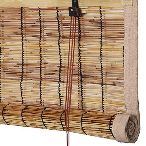 GDMING Bamboe blind retro eenvoudig Romeinse schaduw anti-UV rolgordijn voor balkon raamdecoratie, 2 kleuren, aanpasbare grootte