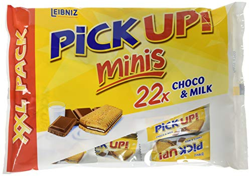 Leibniz PiCK UP! Minis XXL Choco & Milk, Mini-Butterkekse mit Schokoladentafel und Milchcreme Füllung, 22 Stück, 1er Pack (1 x 233 g)
