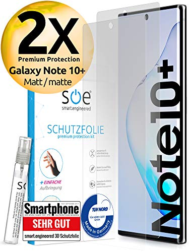 [2 Stück] Entspiegelte 3D Schutzfolien kompatibel mit Samsung Galaxy Note 10 Plus [Made in Germany - TÜV NORD] 100% Fingerabdrucksensor – Hüllenfreundlich – Matt – kein Glas - Panzerfolie TPU