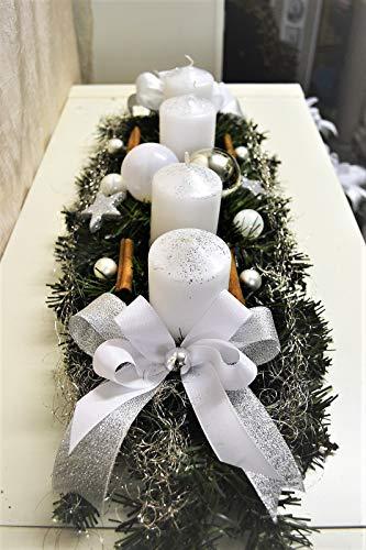 Generisch Adventskranz weiß Silber 60 cm künstlich Weihnachten Adventsgesteck Deko Adventkranz
