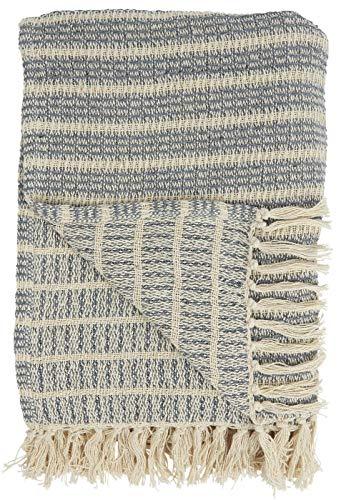 IB Laursen Schlichte Baumwolldecke mit Fransen Plaid Natur Decke Tagesdecke Creme/Blau Streifenmuster 160x130 cm 6513-13