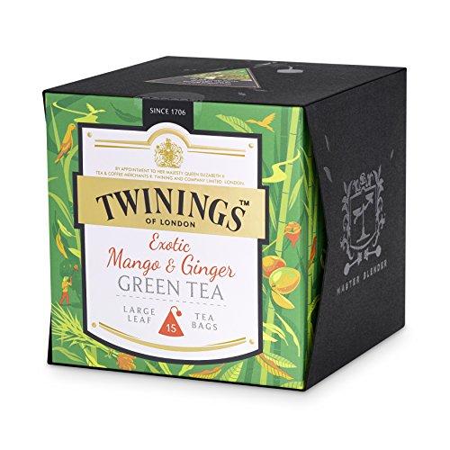 Twinings Exotic Mango und Ginger Green Tea ∙ Grünteemischung mit vollmundiger Mango-Note und einer Spur Ingwer ∙ Grüner Tee im Pyramidenbeutel ∙ 4er Pack (4 x 30 g)