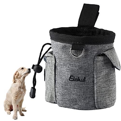Elehui Borsa Addestramento Cane Snack Borsa Sacchetto di Allenamento per Cani Borsa per Cibo per Cani Animali Multifunzionale Snack per Addestramento del Cane Viaggio All Aperto Grigio