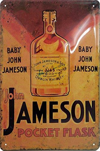John Jameson Pocket Flask Dublin Whiskey, hochwertig geprägtes Blechschild, 30 x 20 cm