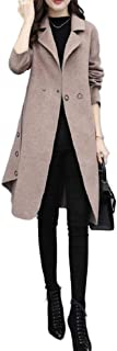 neveraway Womens A Line Loose Top Coat Jacket Woolen Turn-Down Collar Outwear