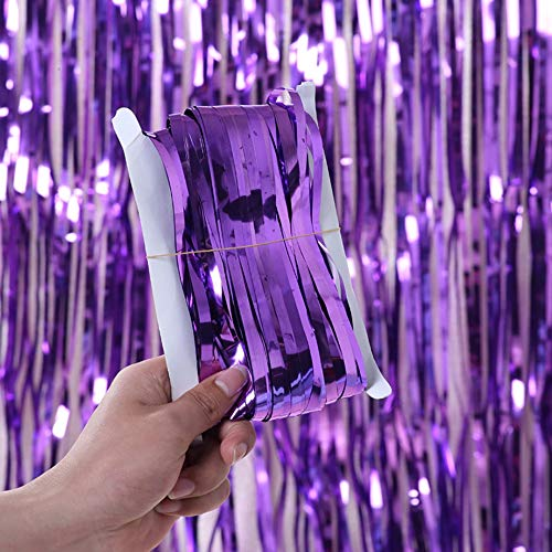 DIWULI, Glitzer-Vorhang Lila, Lametta-Vorhang glänzend, Foto-Hintergrund, Tinsel Schimmer metallic Fransen-Vorhang...