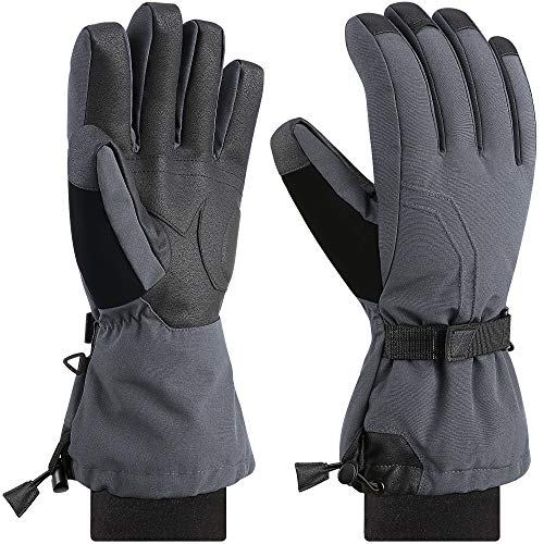 Andake Ski Mittens Gloves Women 90% Down Mittens Cold Weather Waterproof Winter Snow Gloves for Skiing Snowboarding (Grey Gloves, S - M) …