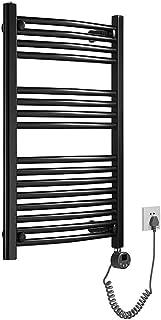 Toallero eléctrico Negro, tendedero, toallero Calefactor montado en la Pared del baño, Temperatura Constante Inteligente, Resistente al Agua y al óxido 50X80cm