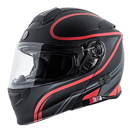 TORC Unisex-Adult Full-face Style T28B Bluetooth Integrated Motorcycle Helmet With Graphic (Matte Black Red, XX-LARGE)