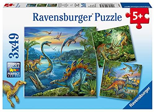 Ravensburger Puzzle 3x49, per Bambini a Partire da 5 Anni, 21x21cm, Dinosauri