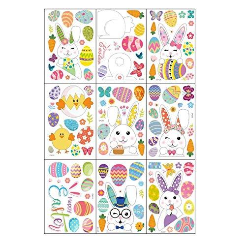 9 piezas de adornos de Pascua para pegatinas de ventana, pegatinas para ventana de conejito de huevo de Pascua, calcomanía impermeable de vidrio para ventana para fiesta hogar oficina pared decoración