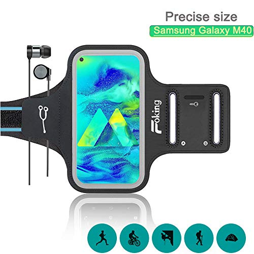 Foking Brazalete para Telefono Movil, Brazalete Deportivo para Samsung Galaxy M40,Multiusos, Adjustable en Diferentes Tamano, Design Seguro (2019 Version Mejorada)