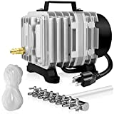 Simple Deluxe Commercial Air Pump LGPUMPAIR75 1189 GPH 58W 75L/min 8 Outlets with Airline Tubing 25 Feet for Aquarium, Pond, Hydroponics Systems Air Pump, Silver