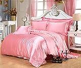 Juego de ropa de cama de seda de satén de lujo, funda de edredón y sábana bajera ajustable para cama doble, tamaño Queen King 08, 6 unidades