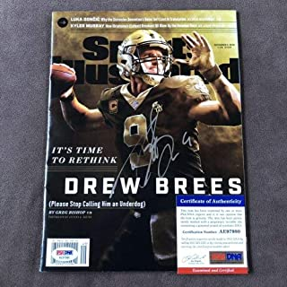 Drew Brees Autographed Signed Sports Illustrated Magazine Label New Orleans Saints + PSA