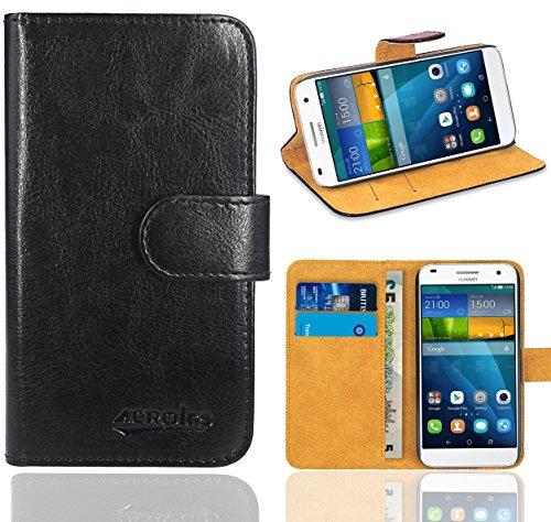 Huawei Ascend G7 Handy Tasche, FoneExpert® Wallet Hülle Flip Cover Hüllen Etui Ledertasche Lederhülle Premium Schutzhülle für Huawei Ascend G7 (Wallet Schwarz)