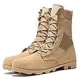 Wygwlg Botas de Combate tácticas Militares para Hombres Zapatos Transpirables del Desierto del ejército Botas Especiales Botas de Patrulla policial,Sand color-41
