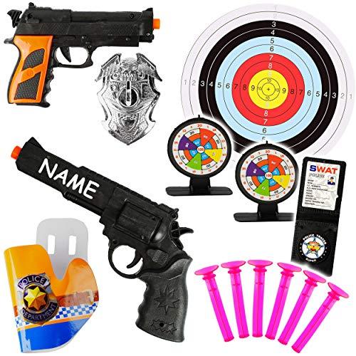 alles-meine.de GmbH XL Set _ Dartspiel - Pistole & Gewehr _ incl. 3 Zielscheiben & Munition - mit Name - aus Kunststoff - Saugnapf Spielzeug - für Kinder - drinnen und draußen Sp..