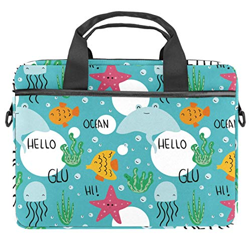 Laptop Bag Marine Starfish Seaweed Jellyfish Blue Notebook Sleeve with Handle 13.4-14.5 inches Carrying Shoulder Bag Briefcase