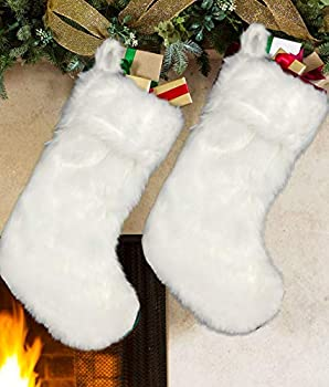 AISENO 2 Pack 18 Inch Snowy White Christmas Stockings Faux Fur Christmas Stockings Hanging Ornaments Candy Gift Bags for Christmas Decorations