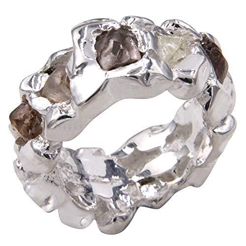 Anillo macizo con 5 diamantes en bruto, obra de orfebrería de Alemania (plata de ley 925, hecho a mano)