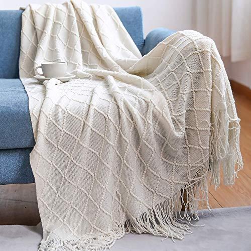 XHNXHN Manta de Punto para sofá, Manta, Manta, Color sólido, para Silla, sofá Cama