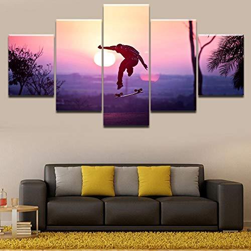 YQSL Leinwanddrucke 5 Panels Sport Skateboarding Poster Wohnkultur Bilder Malerei Auf Leinwand Gedruckt Und An Der Wand Kunstwerk Drucke auf Leinwand