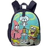 Hdadwy Mochila Escolar de Calamardo y Bob Esponja, Cool Boy Girl Universal Canvas Bag Travel Bag