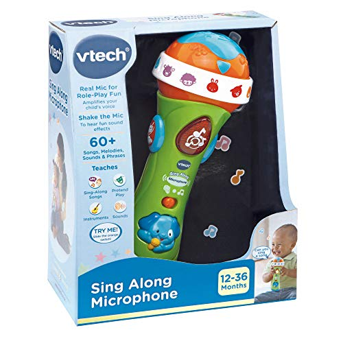 VTech Sing Along Microphone for Kids | Toddler Toy Microphone with Amplified Voice Effect and Animal Sounds | Educational Toys for Boys & Girls 1, 2, 3+ Year Olds, 78763