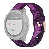 Elektronische Verbrauchselektronik 20 mm Nylonband Stoff Armband für Garmin Venu, Vivomove 3, VivoActive 3, Forerunner 245/645 (grau) violett