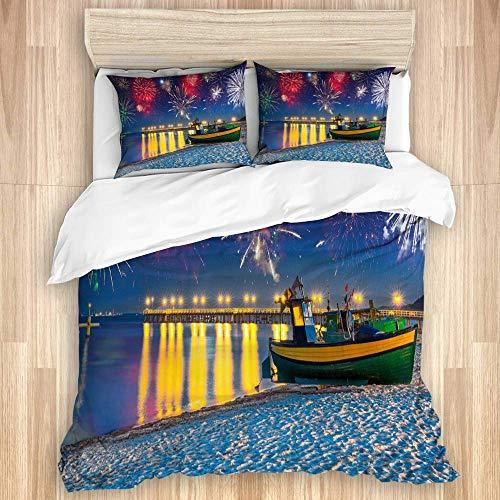 Colecciones de ropa de cama Fuegos artificiales de año nuevo en el mar Báltico Funda nórdica decorativa para dormitorio con 2 fundas de almohada, color sólido ultra suave con cierre de cremallera Lazo