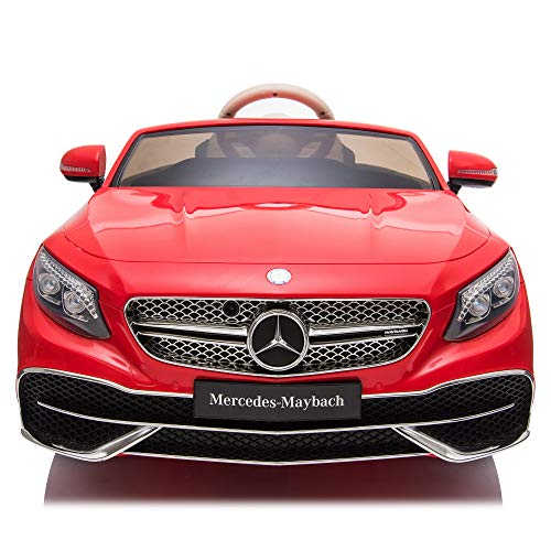 TOBBI Car 12V Licensed Mercedes-Maybach S650 Ride on Car with Parental Remote Control Electric Vehicle with MP3, Bluetooth, Music, LED Lights, Red
