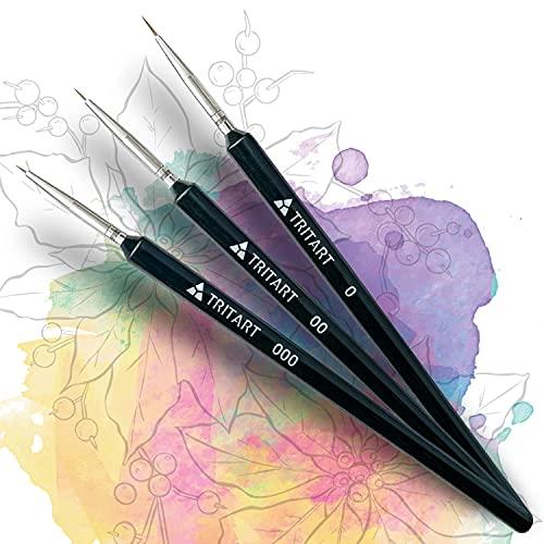 TRITART Pinsel für Acrylfarbe fein - 3-er Pinselset zum Malen - Feine Malpinsel für Aquarell Acryl & Öl geeignet - Künstlerpinsel für Malen nach Zahlen