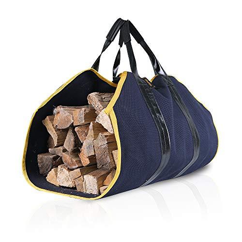 IKEA POD Holzscheite aus Segeltuch – Kaminholztasche Aufbewahrung, Kaminholzofen-Zubehör, langlebiger großer Halter für Camping, Design mit Ledergriff Normal blau