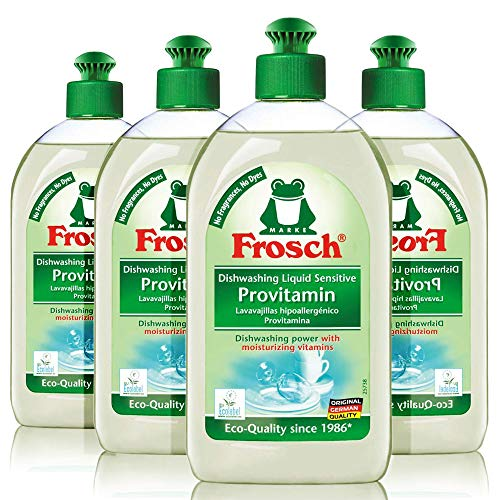 Frosch Natural Unscented Sensitive Provitamin Dish Soap, Vegan Hand Dishwashing Detergent, Free and Clear, 500 ml (Pack of 4)