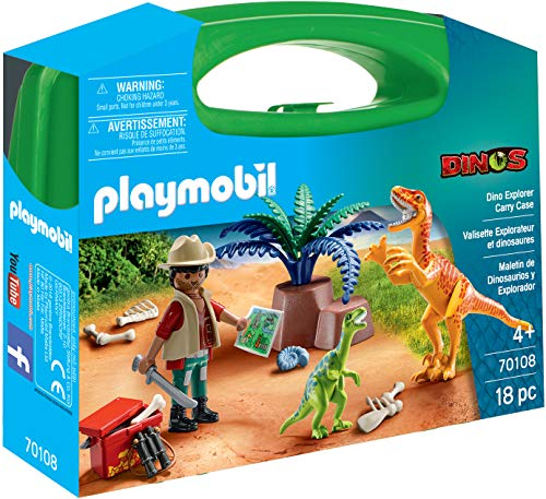 PLAYMOBIL PMB-SET05 Dinosaurier und Forscher Aktentasche 70108, transparent, 200 g