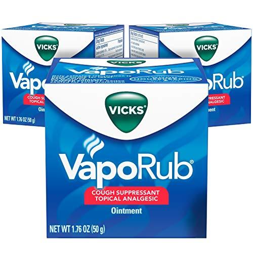 Vicks VapoRub, ungüento para frotar el pecho, alivio de la tos, resfriados, dolores y dolores con vapores originales medicados Vicks, supresor tópico para la tos, 1.76 oz cada uno (paquete de 3)
