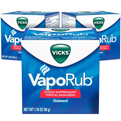 Vicks VapoRub Chest Rub Ointment 1.76 oz (3 Pack) - Relief from Cough, Cold, Aches, and Pains, with Original Medicated Vicks Vapors