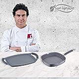 San Ignacio MasterPro Set Grill 28x28 y Plancha Asador 36 cms, Gris, inducción, Aluminio Forjado