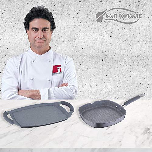 San Ignacio MasterPro SET Grill 28x28 y Plancha Asador 36 cms, gris, inducción, aluminio forjado, Multicolor