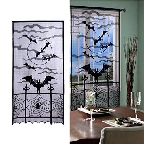 Vorcool Lot de 2 Rideaux en Toile d'araignée pour Halloween Motif Chauve-Souris Noir