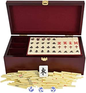 ZHLJ Acrylic Japanese Mahjong Ivory Color Portable Home Travel Entertainment Educational Toys with Wood Storage Box Mahjong