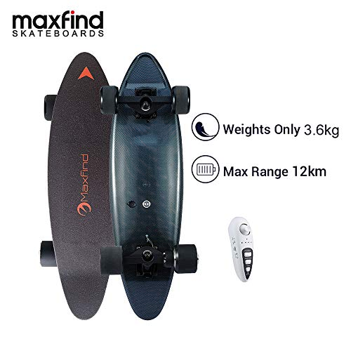 Maxfind MAX C Electric Skateboard,500W Hub Motor,Range 8miles,Speed 14mph,70mm PU Wheels (Black)