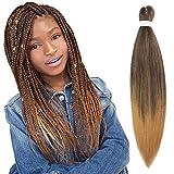 "26"" Pre-stretched Braiding Hair Easy Braid Yaki Soft Synthetic Hair Extensions for Box Braids Twist Crochet Hair (EZ Braiding-3PCS, T4/27#)"