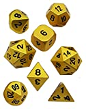 Gargoyle Sonriente WCN-3001 - Juego de Dados de Metal - Polyhedral Oro Perlado x8 - Caja de Regalo de Lujo DND RPG - Incluye Dos Dados de 20 Caras - Juego de rol (Oro)